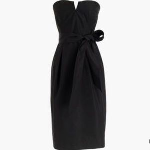 JCREW black strapless tie-waist dress in faille